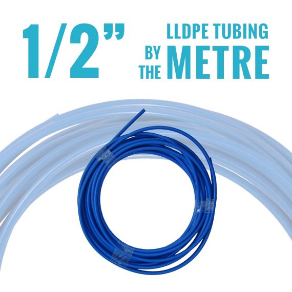 "John Guest LLDPE Tubing - 1/2"" OD - Blue - By the Metre"