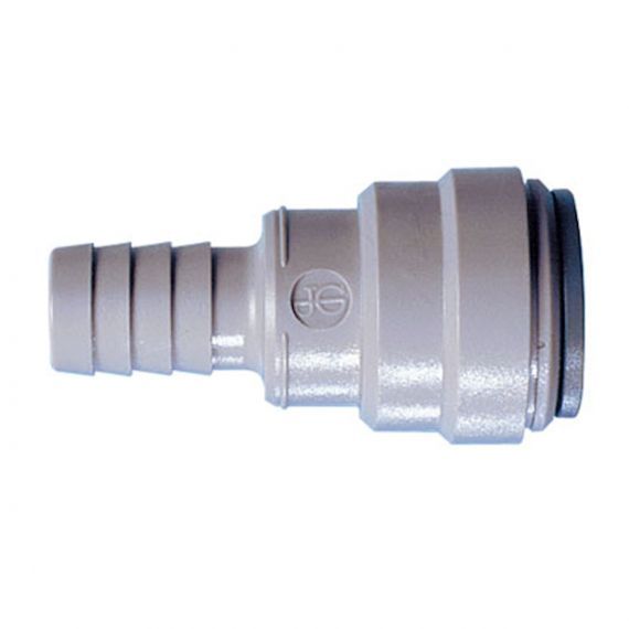 "John Guest Tube to Hose Connector | 15mm Push Fit x 1/2"" Hose Barb 