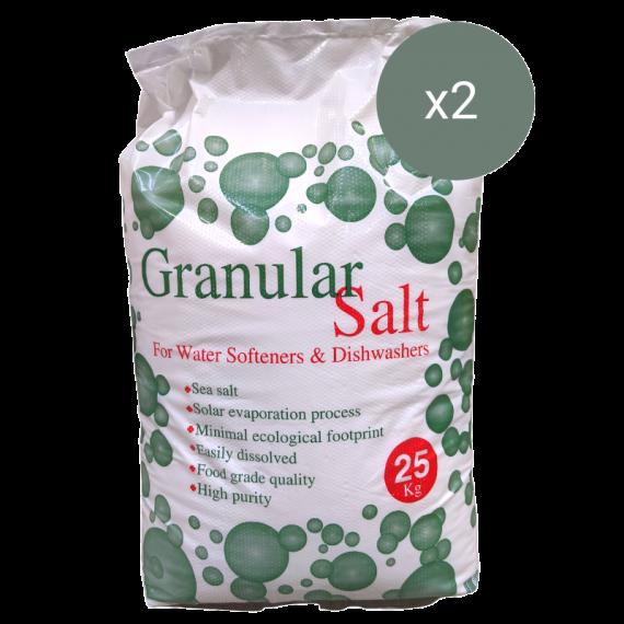 2 x 25kg Sacks of Granular Salt